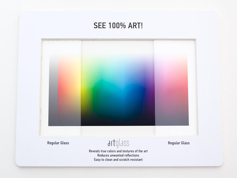 Artglass specifier frame comparing regular glass to anti-reflection glass.