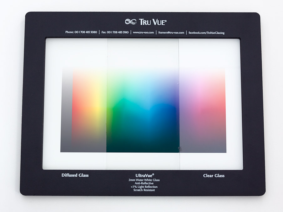 Tru Vue specifier frame comparing regular and etched glass to anti-reflection glass